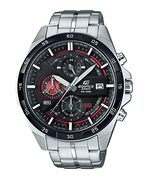 Casio Edifice EFR-556DB-1AVUDF - For Men Price In Pakistan  PRODUCT DESCRIPTION   	Case / bezel material: Stainless steel  	One-touch 3-fold Clasp  	Stainless Steel Band  	Mineral Glass  	Screw Lock Back  	100-meter water resistance  	1-second stopwatch Measuring capacity:  http://www.available.pk/