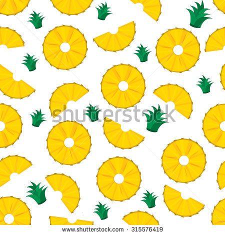 pineapple slices. summer pineapple fruit illustration ...