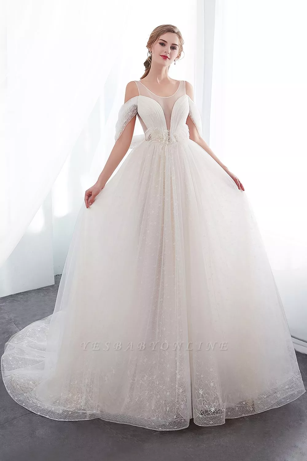 Nancy Affordable Sleeveless Floor Length Lace Ivory Wedding Dresses In 2020 Ivory Wedding Dress Wedding Dresses A Line Wedding Dress