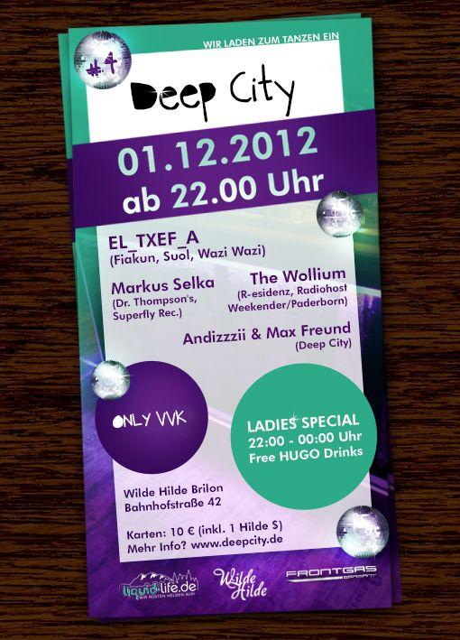 Deep City // Wilde Hilde presents:  El_Txef_A // 01.12.2012 // 22:00 Uhr  info check deepcity.de
