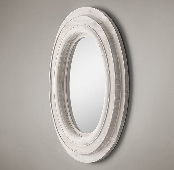 Photo On White Oval Bathroom Mirror made from salvaged wood Restoration Hardware