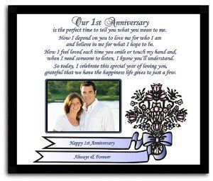 1st Anniversary Gift For Husband Or Wife Boyfriend Friend Heartwarming First Poem Photo Added After Delivery