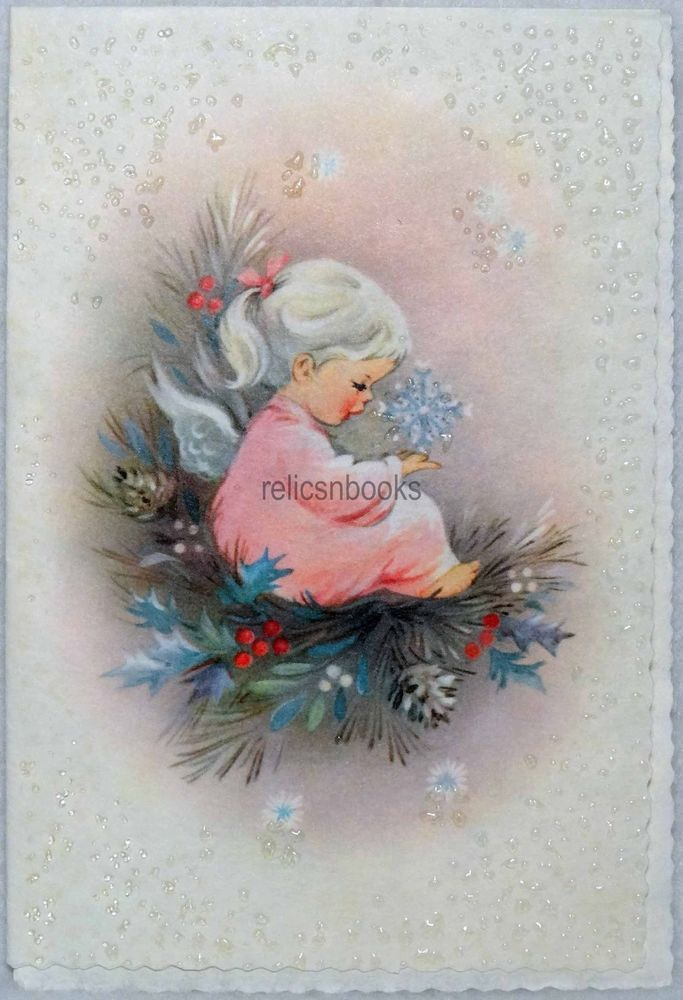 #390 60s GLITTERED Angel Girl & Snowflake, Vintage Christmas Card-Greeting