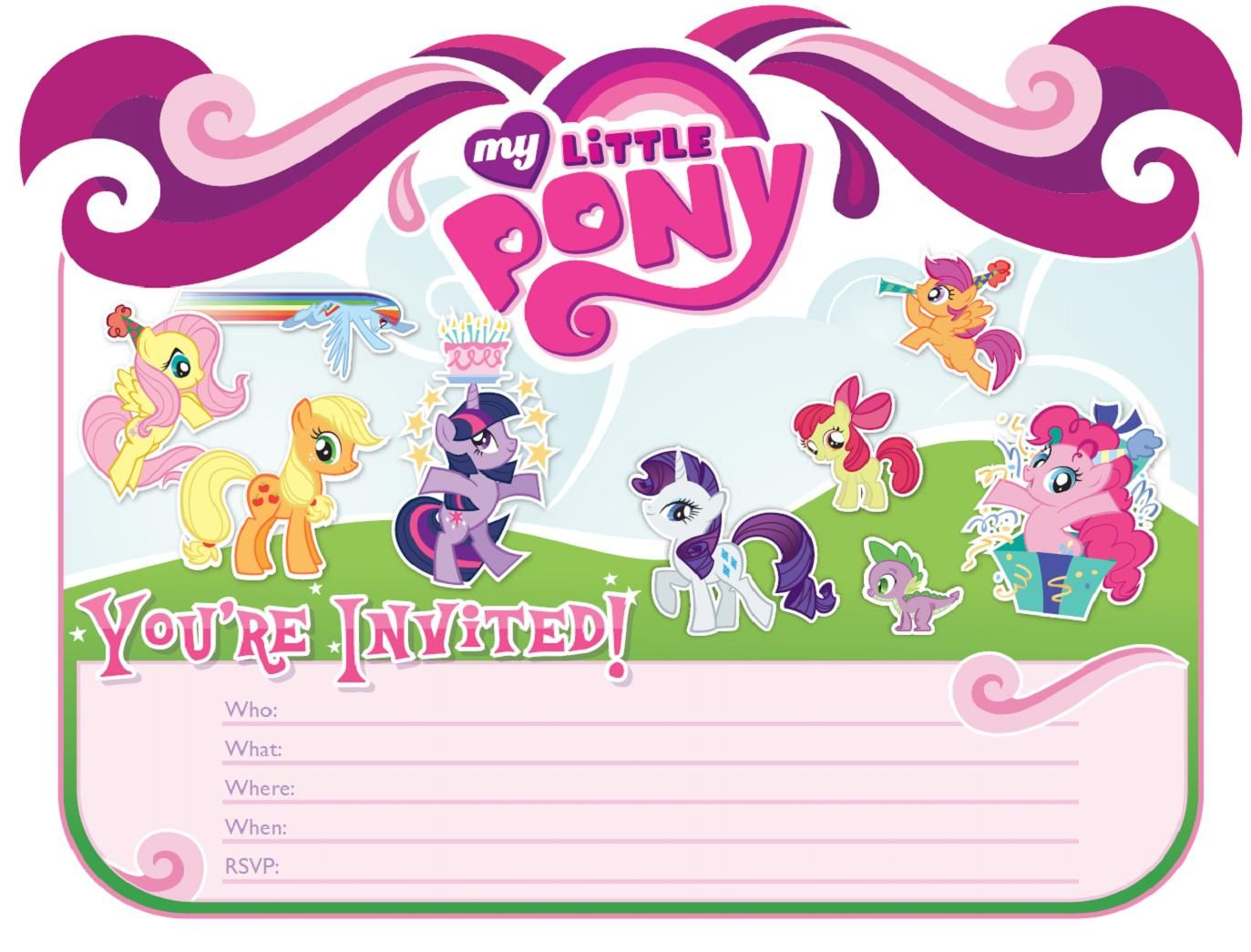 MLP Bday Invitation Template My Little Pony Themed Bday