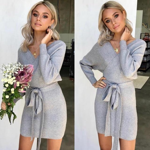 8765ee46f1 Warm Sweater Dress Women Long Sleeve Bandage Wrap Dress Sexy Mini Bodycon  Pencil Dress Robe Femme