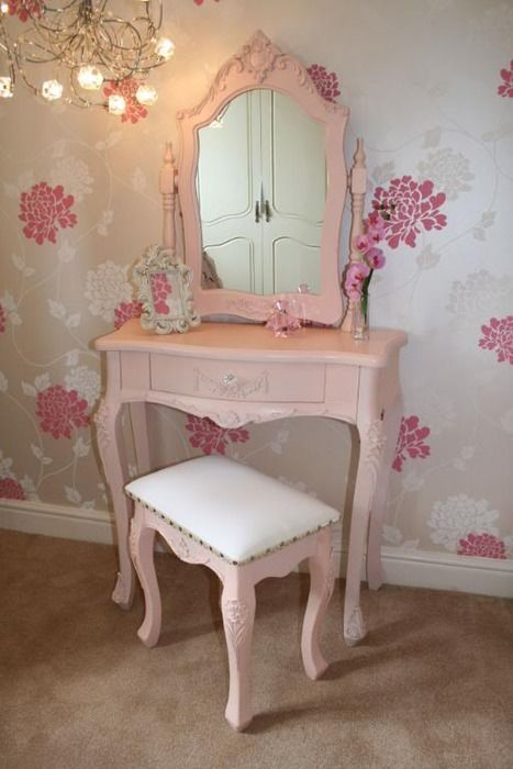 Shabby Chic Dressing Table / With matching bench, all in pink ...