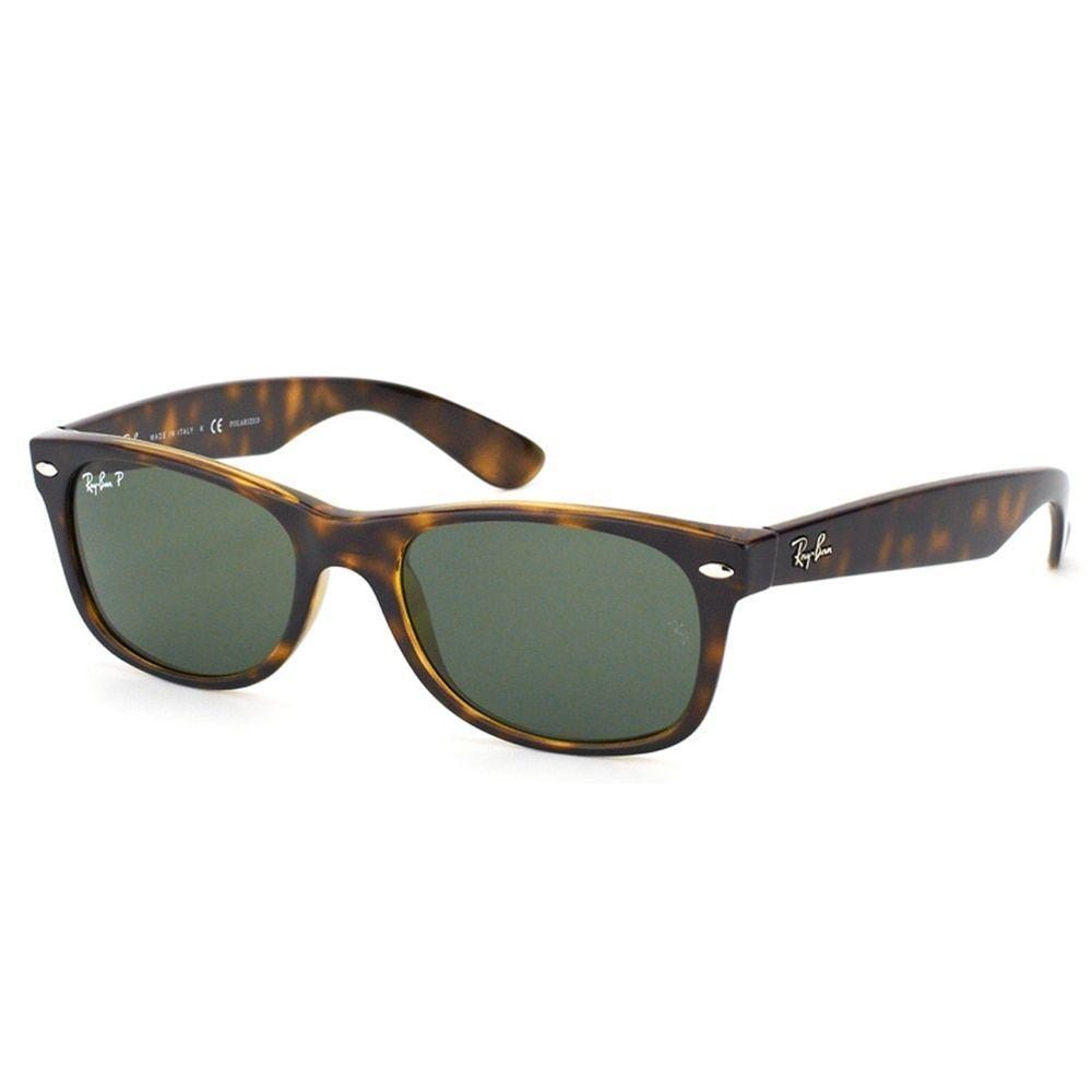 2c079e26085 Ray-Ban RB 2132 902 58 New Wayfarer Tortoise Sunglasses With Green  Polarized Lenses