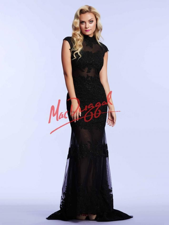 Black Prom Dress | Lace Gown with Sheer Illusion | Mac