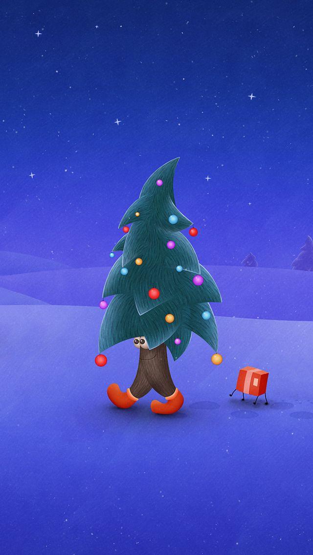 Lovely Walking Christmas Tree Part - 8: Walking Christmas Tree #iPhone #5s #wallpaper
