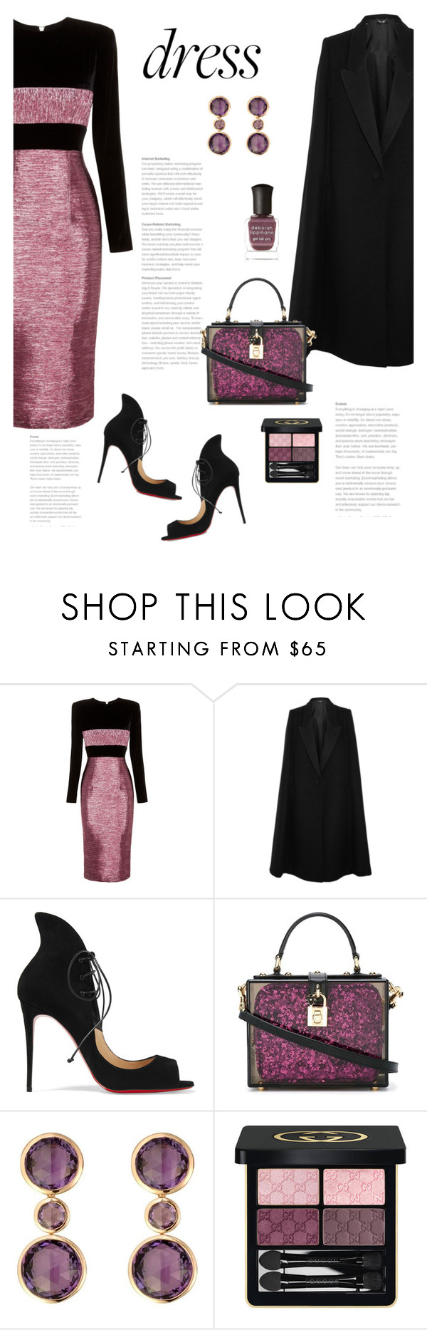 """On Trend: Two-Tone Dresses"" by bliznec ❤ liked on Polyvore featuring Alex Perry, STELLA McCARTNEY, Christian Louboutin, Dolce&Gabbana, RenéSim, Gucci, Deborah Lippmann, polyvoreeditorial, polyvorecontest and TwotoneDresses"