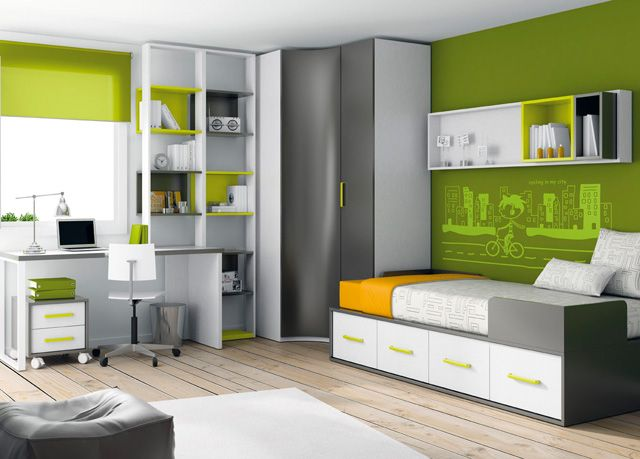 Cama compacta dormitorios juveniles e infantiles for Cama infantil compacta