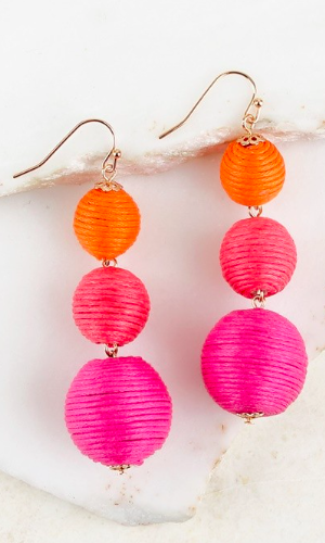 Boho Thread Wrapped Ball Earrings (more colors)