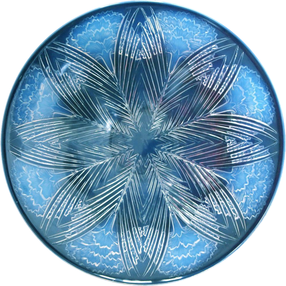 "R. Lalique ""Oeillets"" Opalescent Glass Charger or Platter, circa 1932"