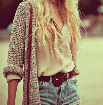 knitted cardigan, denim shorts, buckled leather belt, nude shirt