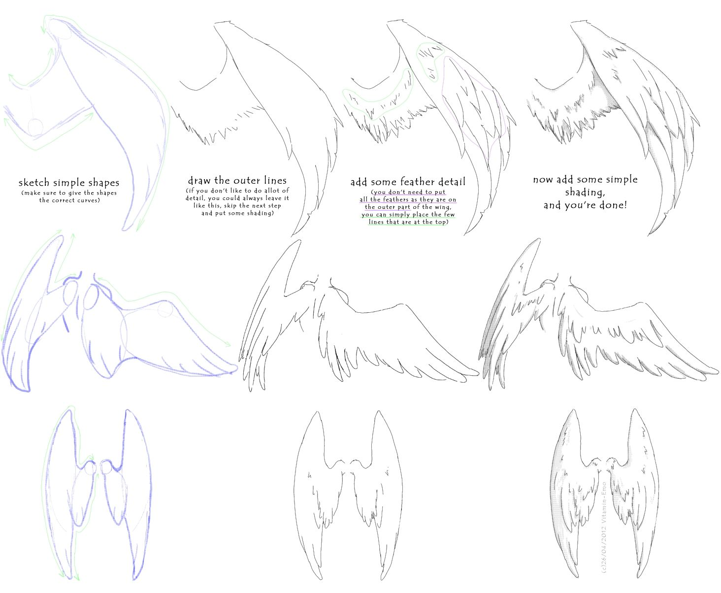 Manga Angel Wings Tutorial 1 By Vitamin Emo Thought This