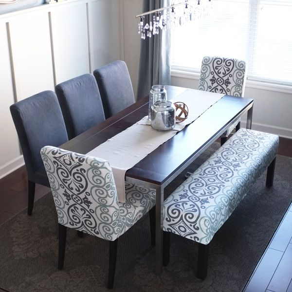 Easy bench slipcover bench decking and dining room table for Dining room table and bench set
