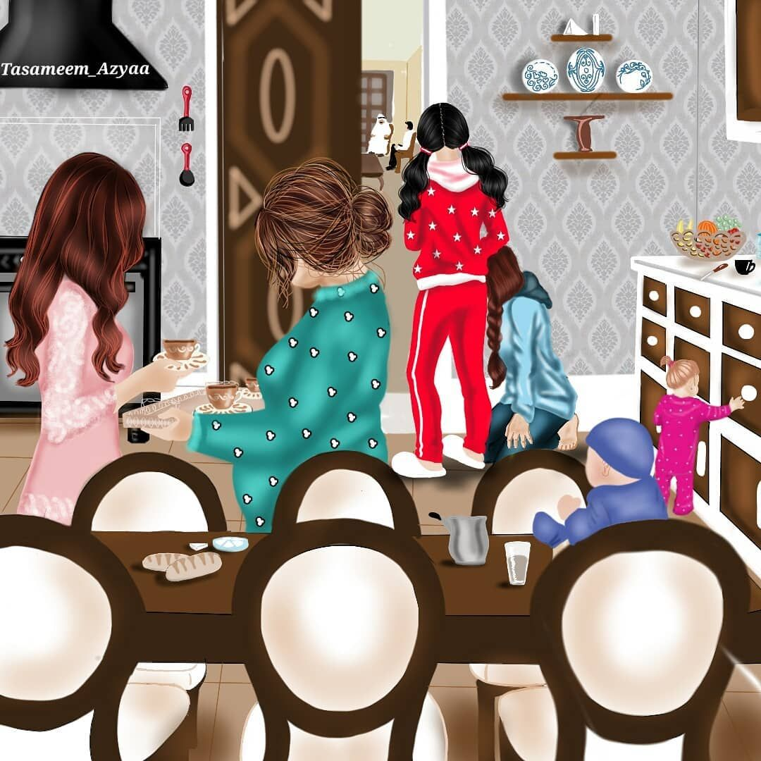 هذي الرسمة تمثل البنت لما يجو عليها يخطبوها ويشوفوها اما الجمهور ماوراء المطبخ فيهم البنات اللي يفصلو العريس Cute Girl Wallpaper Cute Girl Drawing Girly Art