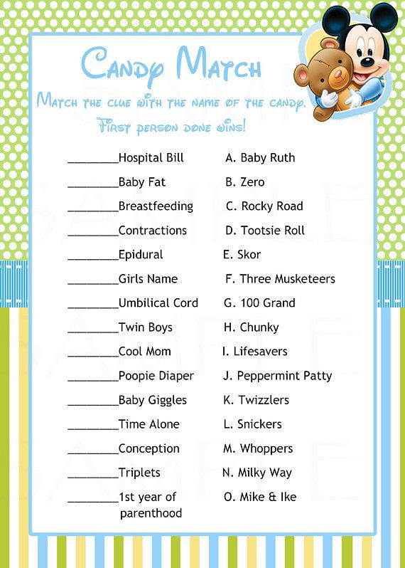 Baby Shower Games Disney Baby Mickey Mouse Inspired Baby
