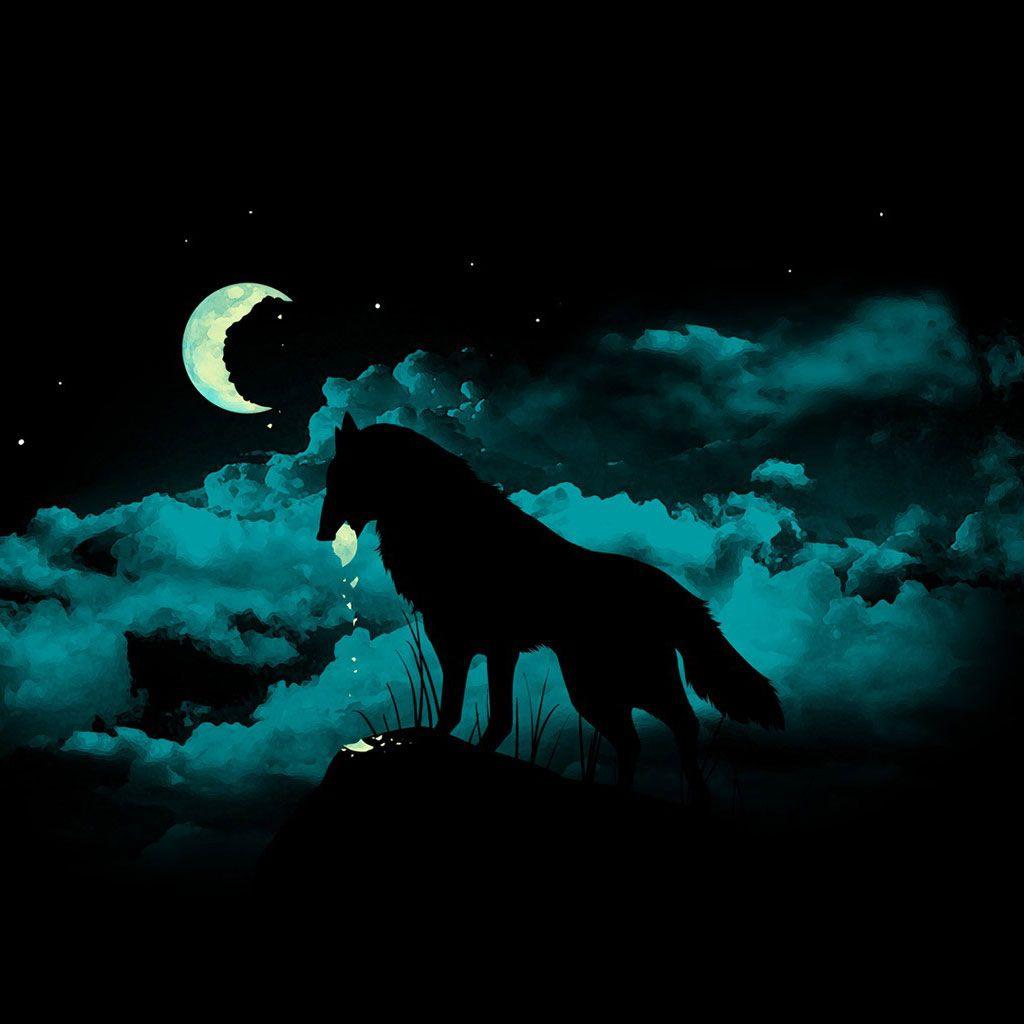 Moon L Wolf WallpaperNeon
