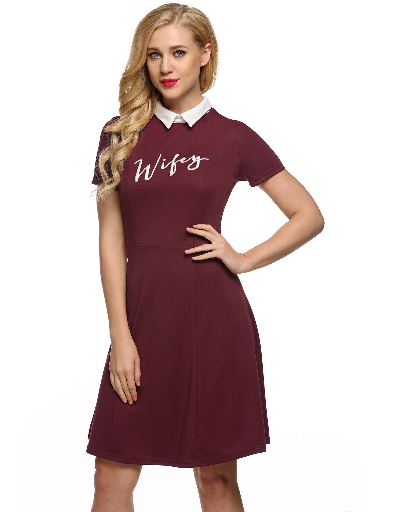 Red retro women doll collar short sleeve embroidery aline shift