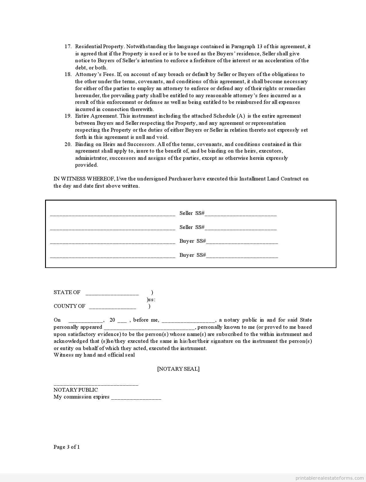 Sample Printable Contract For Deed Form  Printable Real Estate
