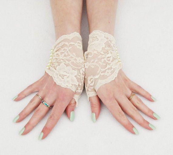 Victorian lace fingerless gloves Wedding Brides by Steampunkwolf, $30.00