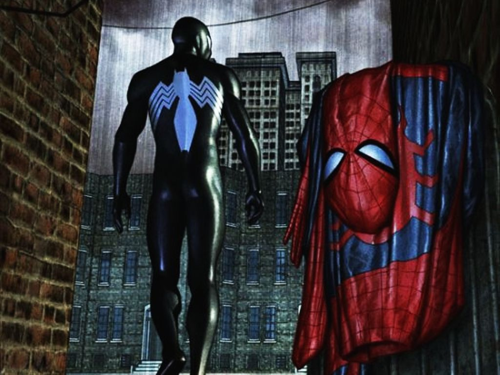 Spider-Man wearing the black costume