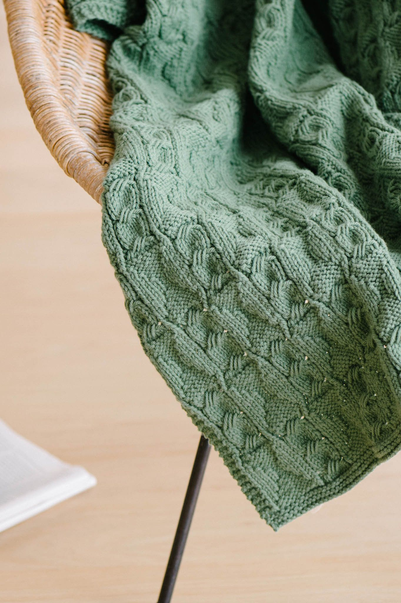 Eight by eight - Quince &Co. worsted weight faux cable knitted blanket.
