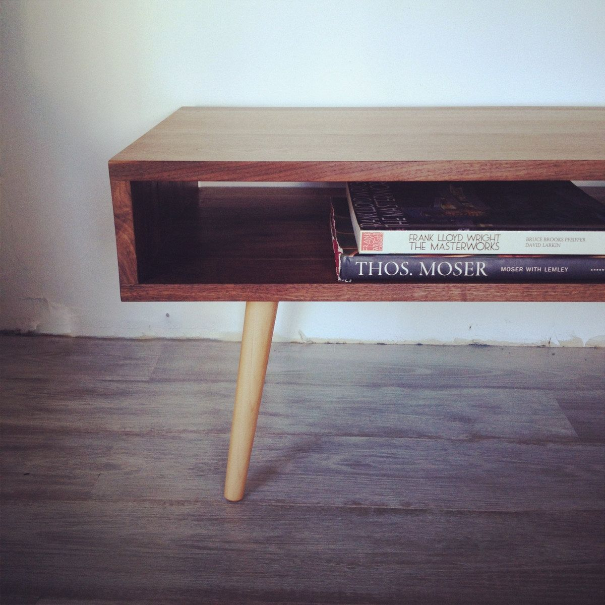 48 Solid Walnut Low Mid Century Modern Coffee Table Via Etsy Interiors