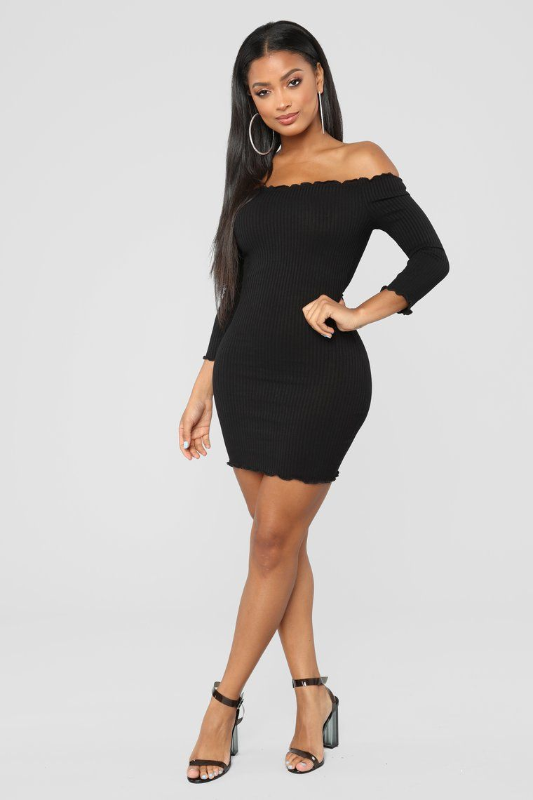 Curious Is This Serious Off Shoulder Dress Black in To Buy