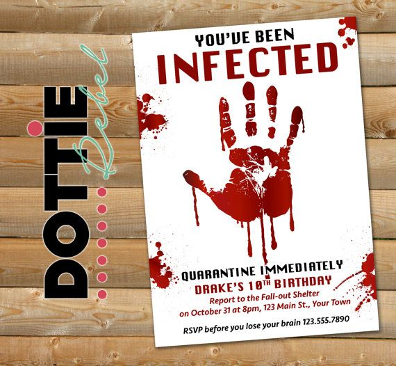 Printable Zombie Invitations For A Teen Zombie Party | Party ...