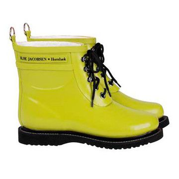 Lace Up Rainboot Short Lime} by Ilse Jacobsen Hornbaek