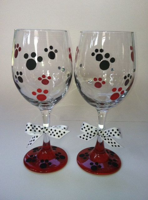 Hand Painted Wine Glasses With Dog Or Puppy Paws By