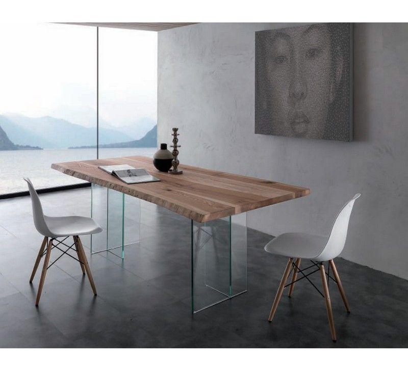 Table Tronc D Arbre Et Pieds En Verre Amazone 6832 Table Salle A Manger Mobilier De Salon Salle A Manger Contemporaine