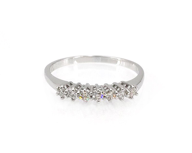 74d030221b5401 Anello oro veretta sette diamanti 0,19 ct. seven diamonds engagement ring  white gold 18 kt wedding jewellery pietre preziose gioiello per matrimonio