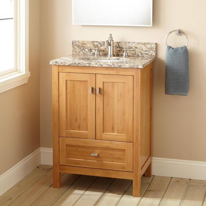 24 Narrow Depth Alcott Bamboo Vanity For Undermount Sink