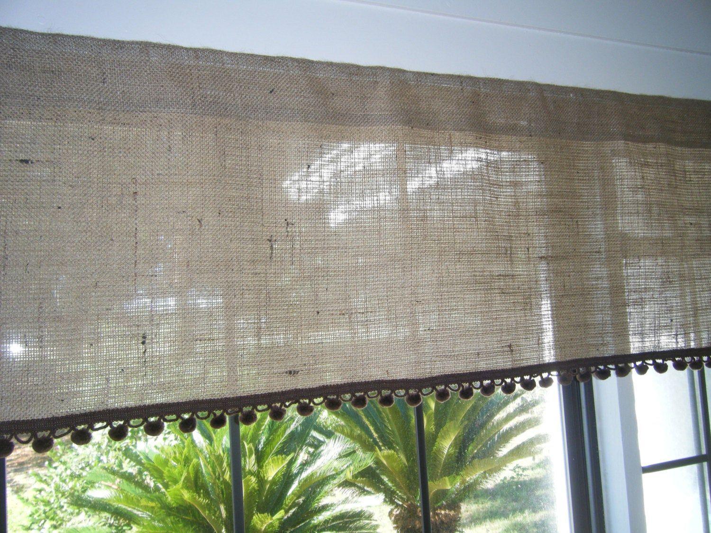 Burlap Window Valance with Pom Pom Trim 30 84 Etsy