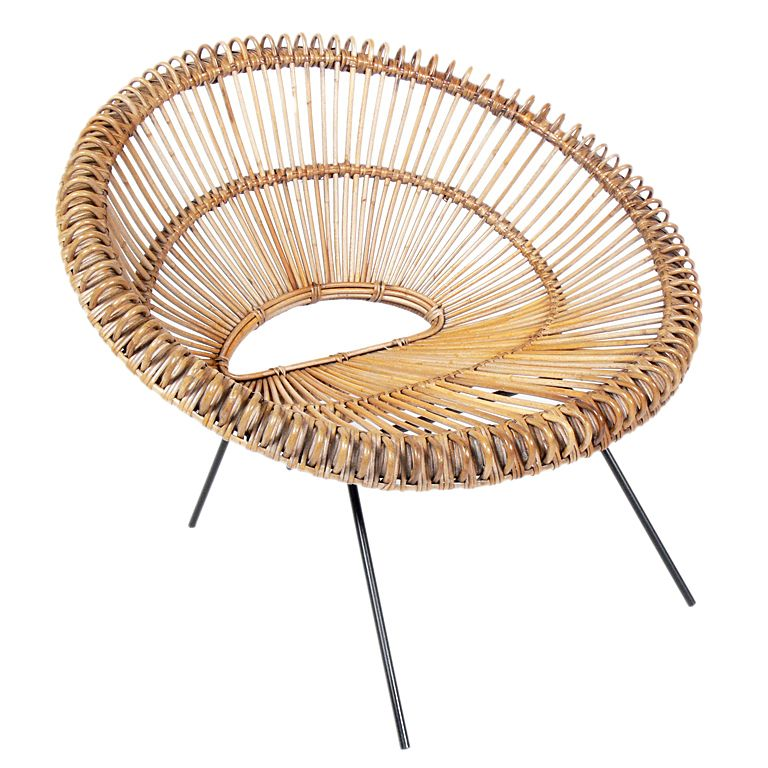 Outstanding Sculptural Italian Modern Rattan Scoop Chair Chairs Uwap Interior Chair Design Uwaporg