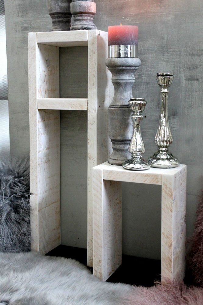 details zu holz beistelltisch shabby hocker kerzenst nder regal blumen tisch set antikwei. Black Bedroom Furniture Sets. Home Design Ideas
