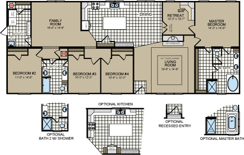 The Rio Grande Xl Doublewide Manufacturedhome 4 Bedroom 2 Bath 2 305 Sqft Titanhomes Texas Http Mobile Home Floor Plans Modular Home Plans Modular Homes