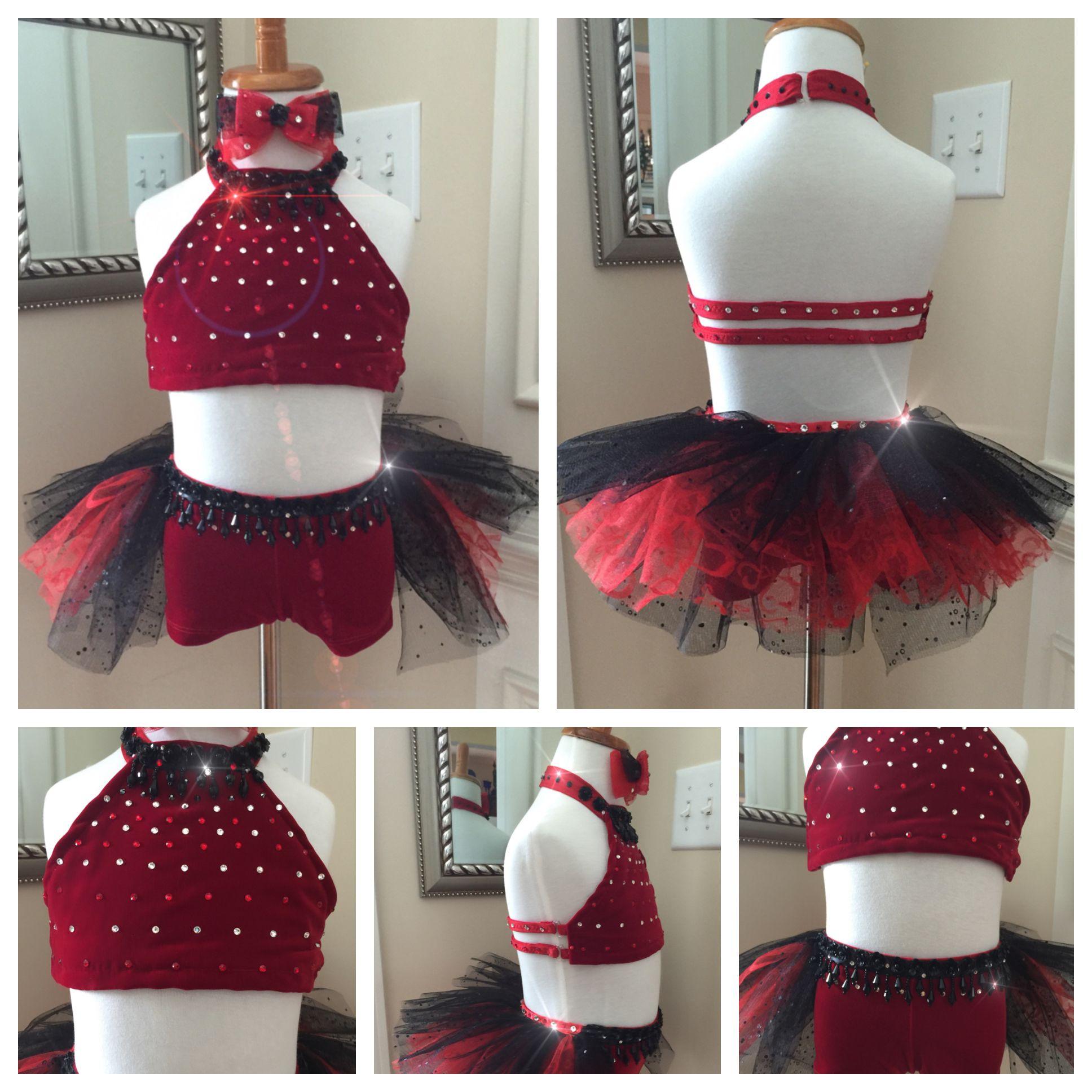 dc80016b4 2-Piece Custom Jazz Dance Costume in Red and Black | My Custom Dance ...
