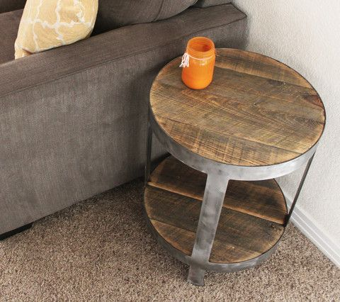 Reclaimed Wood Side Table Round Bi Level Reclaimed Wood Side Table Side Table Wood Industrial Side Table