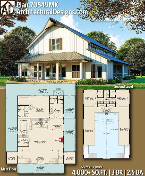 Plan 70549MK: Two Balconies and Three Beds #polebarnhomes