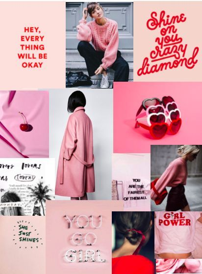 As the brand evolves... Mood Board II for Shine Media. Pink, poppy red, graphic, clean, high contrast, slick, cool, edgy, encouraging, supportive #moodboards