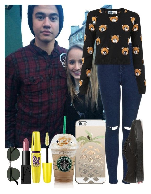 """""""Meeting fans with Calum 💘"""" by cliffornax ❤ liked on Polyvore featuring Ray-Ban, Casetify, Maybelline, Topshop, Vans, NARS Cosmetics and Moschino"""