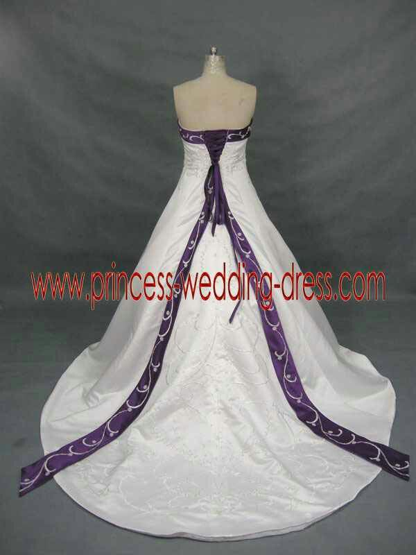 White Wedding Dress With Purple Accent Colors Accents Color Princess Dresses
