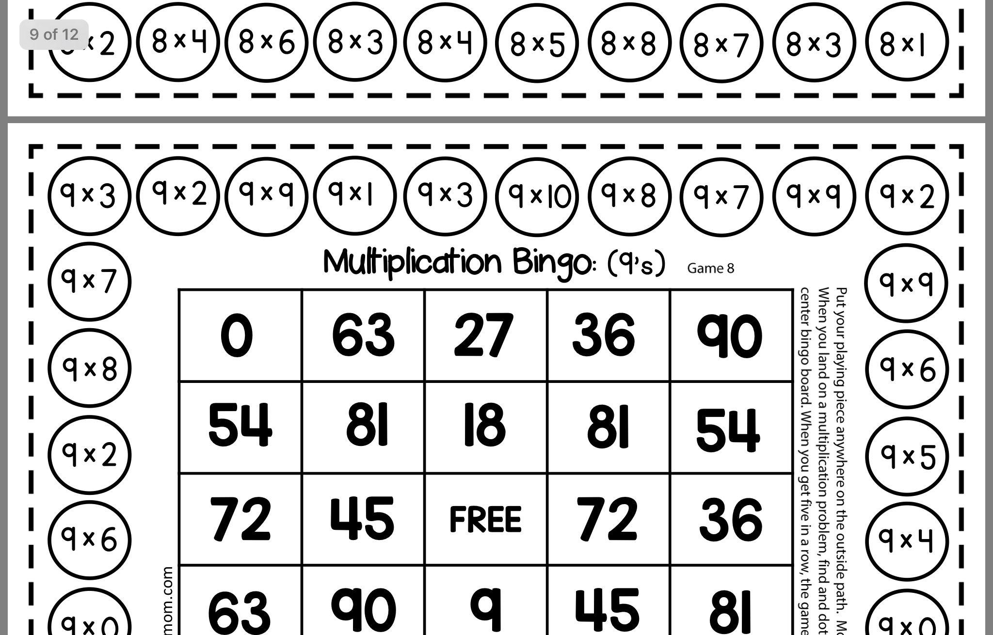 Multiplication Bingo Multiplication Bingo Multiplication Bingo