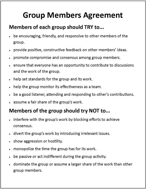 Cooperative Learning Assigning Individual Tasks to Group Members - student contract template