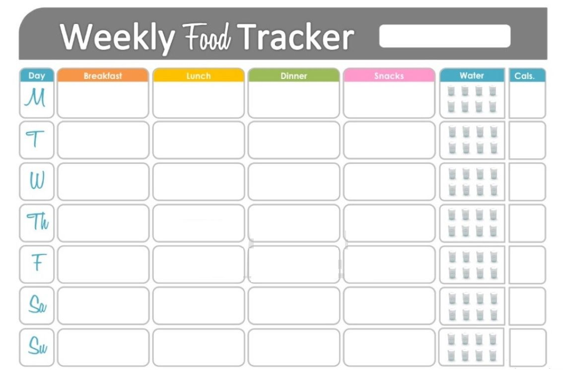 Free Printable Fitness Food Tracker