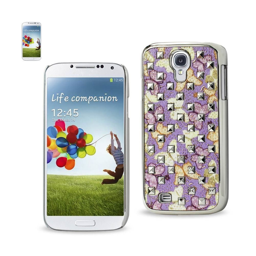 Reiko Plating Rivets Cover Butterflies Pattern Samsung Galaxy S4 Purple